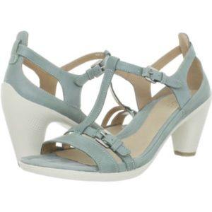 Ecco Sculptured 65 T Strap Sandal Aqua Heels 41 10
